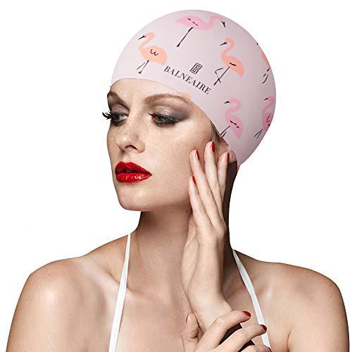 BALNEAIRE Silicone Swim Cap for Women, Waterproof Long Hair Swimming Caps Flamingo Print Pink