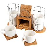 SOPRETY Ceramic Coffee Set Tea Set Espresso Set Bone China with 6 Porcelain Cups, 6 Bamboo Saucer Service and A Bamboo Cups Rack Stand Holder for Office Home Coffee , White