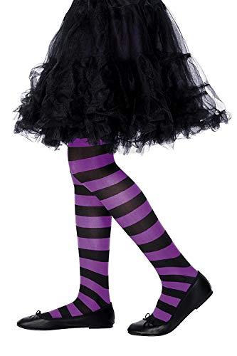 Smiffys kinderpanty leggings paars zwart Gr 6-12 jaar