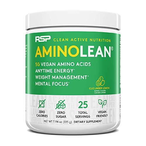 RSP Nutrition Vegan AminoLean - Pre-Workout Powder, Vegan Aminos, Weight Management, Energy, Mental Focus, 30 Servings (Cucumber Lemon)