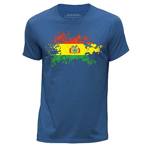 STUFF4 Uomo/Piccolo (S)/Blu Reale/Girocollo T-Shirt/Bolivia Bandiera Splat