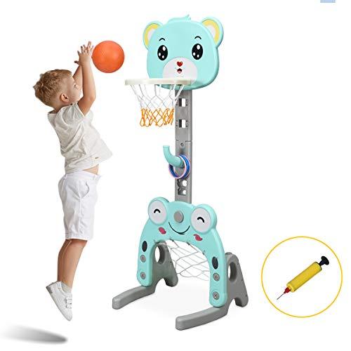 COSTWAY 3-in-1 Kinder Spielplatz, Basketballkorb & Fußballtor & Wurfspiel, Basketballständer höhenverstellbar, Korbanlage für Innen- und Außenbereiche