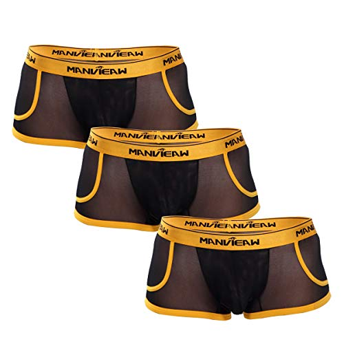 Herren Boxershorts transparent Unterhose 3 Pack Farbe Schwarz sexy Dessous für Männer Panty Trunks Weichbund Unterwäsche Shorts Herren Dessous Erotik Reizwäsche Unterhosen Mikrofaser Wäsche (L/XL)