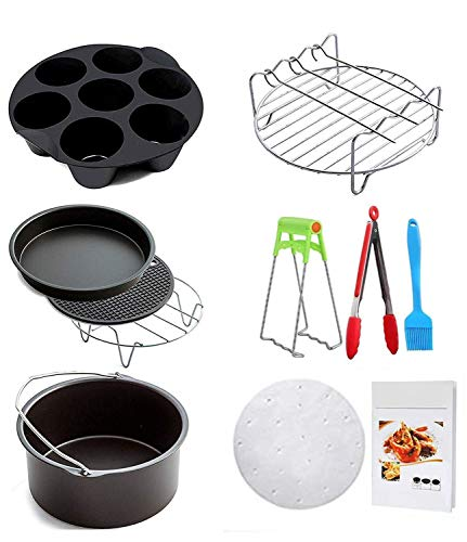 Ptsaying Air Fryer Accessories 10 sets +20 cookbook, air fryer basket baking pan,For Phillips, Gowise Universal XL power Air Fryer Accessory Kit Fit All 3.5QT-3.7QT 5.3QT-5.8QT, -7 Inch