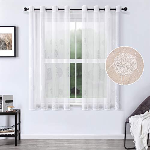 MRTREES Voile Vorhänge halbtransparent Vorhang kurz im Blumen Stickerei Modernen Wohnstil Sheer Gardinen Weiß 145×140cm (H × B) für Wohnzimmer Schlafzimmer Kinderzimmer 2er- Set