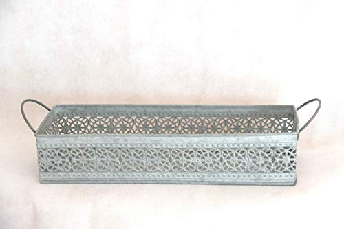 HFG Deko-Tablett Metall Länge 33 cm grau Kerzenschale Pflanzschale Deko-Schale Blumenschale