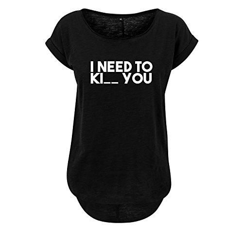 I Need Ki_ You t-Shirt lang Oversize Damen Kurzarm Top Women lässig Sommer schwarz weiß (369-B36-Schwarz-S)