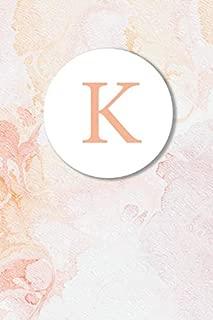 K: Pink Marble Monogram Sketchbook | 110 Sketchbook Pages (6 x 9) | Floral Watercolor Monogram Sketch Notebook | Personalized Initial Letter Journal | Monogramed Sketchbook