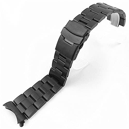 LINMAN 20mm 22mm de Acero Inoxidable Reloj de Reloj de Acero Inoxidable Hombres Metal Mate Curved Fin Solid Buceo Strap Correa Pulsera Banda de muñeca Accesorios (Band Color : Black, tamaño : 20mm)