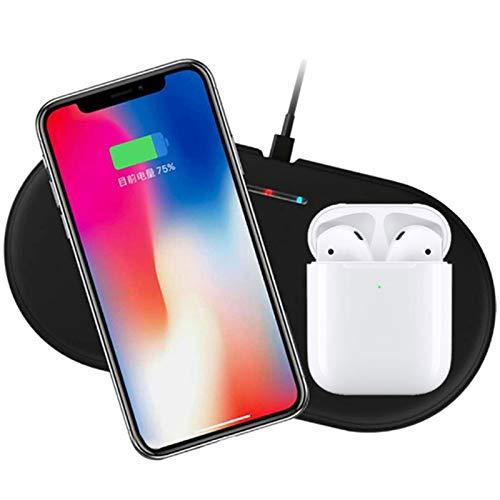 2 en 1 Qi Wireless Fast Charger, Soporte de Carga Soporte de Estación de Dock Compatible con Apple Watch 4 Compatible con iPhone XS/XS MAX/XR CARGER DE INDUCCIÓN