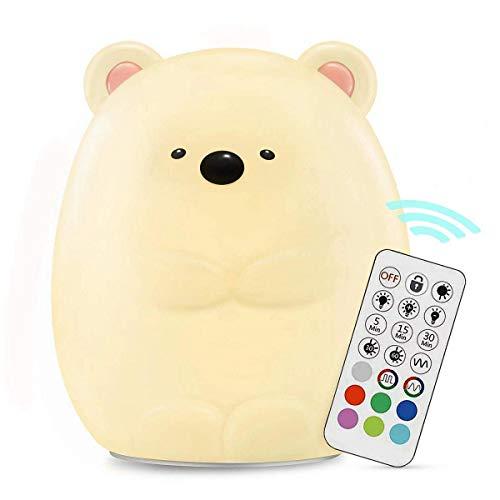 HandAcc - Luce notturna per bambini, in morbido silicone, ricaricabile tramite USB, temperatura e luminosità regolabili, temporizzazione Carino orso luce notturna per neonati e bambini Orsacchiotto
