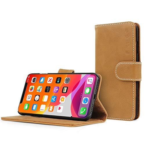 Snugg Funda tipo cartera para iPhone 12 Pro Max – Funda de piel con función atril práctica – Serie Legacy con tapa para teléfono móvil en camello del desierto