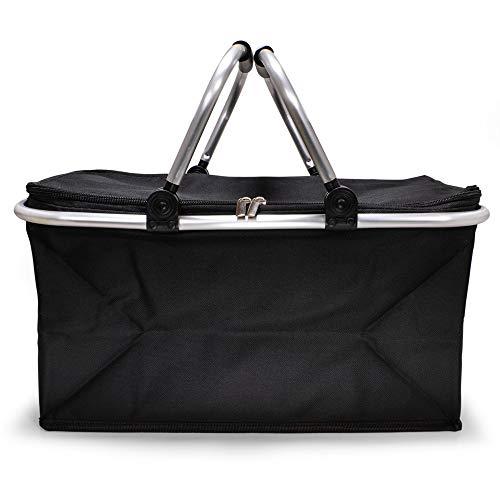e-Best Cestino per la spesa con manici imbottiti, cestino da picnic, borsa per la spesa, borsa da picnic, pieghevole, cestino pieghevole (nero)