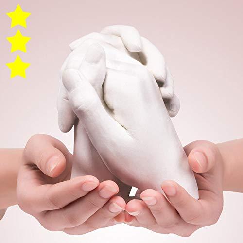 Keepsakes Holding Hands Casting 3D Adults/Children DIY Kit Paints Couple Hand Keepsake Memory kit with Alginate Anniversary Birthday Wedding Handprint Sculpture Moulds (D)