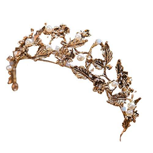 TOOGOO Diadema Vintage Corona barroca de Color Dorado Corona de Perlas de Imitacion Diadema Joyas para el Pelo de la Boda
