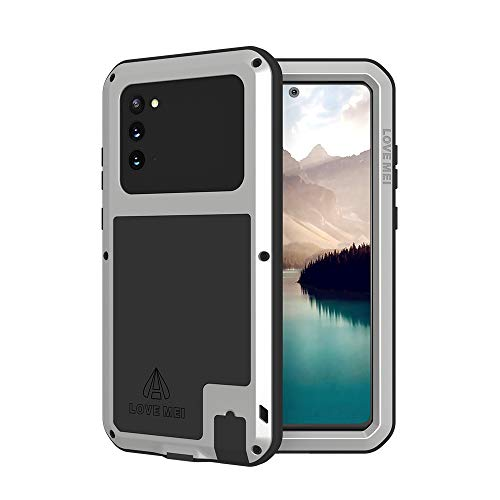 LOVE MEI Galaxy Note 20 5g Phone Case, [Without Glass Screen Protector] Full Body Sturdy Defender Hard Cover Heavy Duty Shockproof Dustproof Metal Silicone Case for Samsung Note 20 G (Silver)