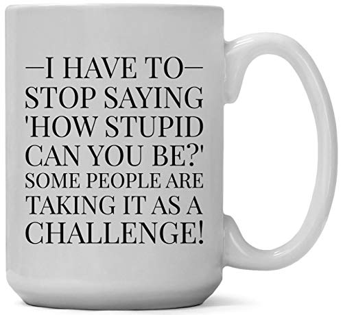 Large 15-ounce Funny Coffee Mug, I Have to Stop Saying, How Stupid Can You Be?' Some People Are Taking It as a Challenge! Unique, Sarcastic Gag or Joke Gift a for Him or Her, Friend