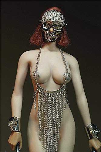 "ZSMD 1/6 Scale Female Figure Doll Clothes, Handmade Outfit, Skull Mask + Dress + Bracelet + Daggers for 12"" Female Action Figure Phicen,TBLeague CM013(B)"