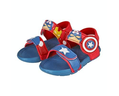 Avengers Sandali per Bambino e Ragazzi, Sandali Chiusura a Velcro, Design Hulk, Iron Man, Thor, Captain America, Regalo per Bambino, Taglie EU 22/23