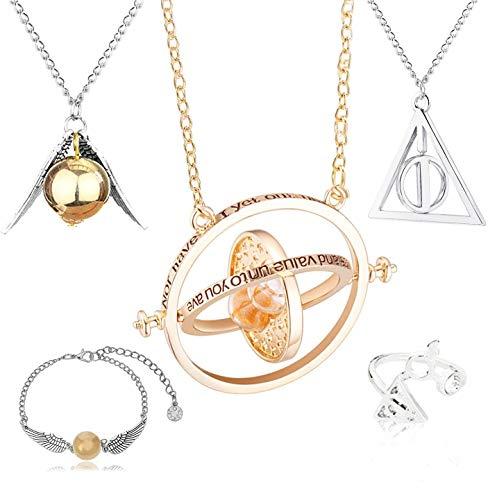 CHEPL Necklace Set 5 Piezas Collar Pulsera Gold Snitch Bracelet Anillo Plata para Cosplay, joyería para Mujer y niña