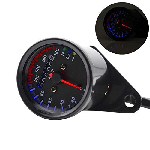 CAIZHIXIANG 12V Universal Retro de la Motocicleta del odómetro del velocímetro Digital 0-160km / h Barra de Velocidad del medidor medidor Doble Color LED
