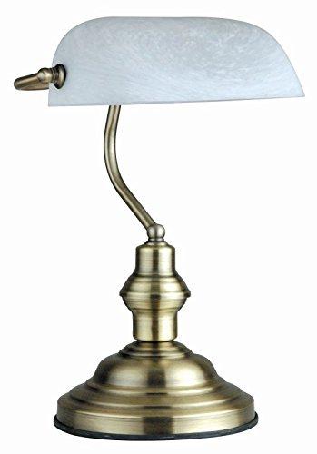 Schreibtischleuchte Alt Messing Banker Lampe Glas Schirm Retro (Schreibtischlampe, Nachttischleuchte, Nachttischlampe, Tischleuchte, Tischlampe, Höhe 36 cm, Bankerslamp, Fassung E27)
