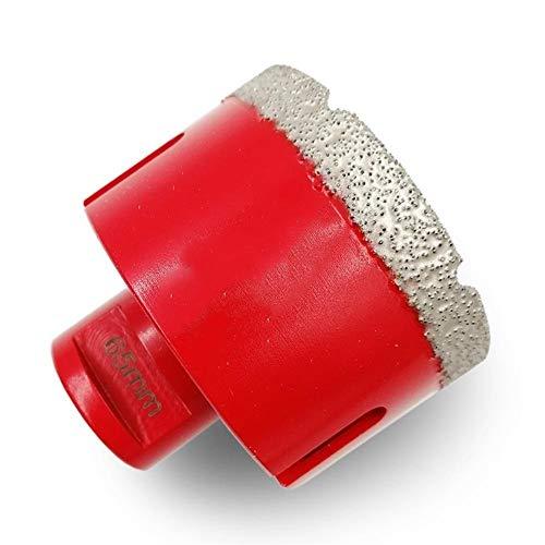 Esuhuang 1pc Dia 65mm vacío porcelana con soldadura fuerte baldosas de diamantes de perforación de sondeo de testigo poco de granito de mármol orificio de conexión M14 Corona sierra Broca industrial m