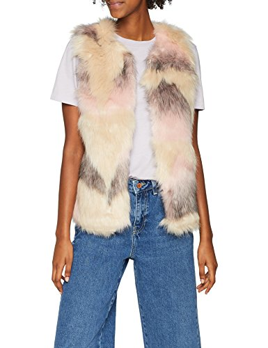 New Look Damen Weste Fake Fur 5892079, Mehrfarbig (Mehrfarbig Pattern ), S (Herstellergröße: S)