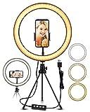 ELEGIANT Anillo de Luz LED Fotografia 10.2' de Escritorio, Aro de Luz con Trípode Control Remoto Inalámbrico 3 Colores, 11 Brillos Altura Regulable para Móvil Selfie Maquillaje Youtube TIK Tok Live