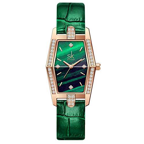 SHENGKE Plaza Estrella Lujo Relojes para Mujer Reloj Damas de Malla Impermeable Elegante Banda de Acero Inoxidable Relojes de Pulsera Moda Vestir Negocio Casual Reloj de Cuarzo (Green-Leather)