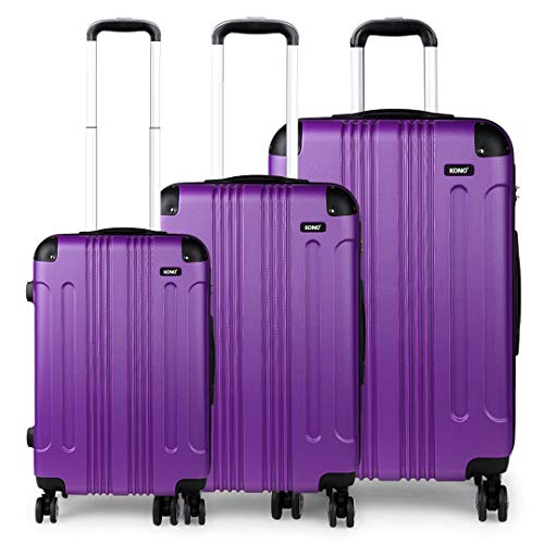 Kono 3pcs Luggage Set Hard Shell Suitcase Light Weight ABS 4 Wheels Spinner Business Trip Trolley Case 20' 24' 28' (Purple Set)
