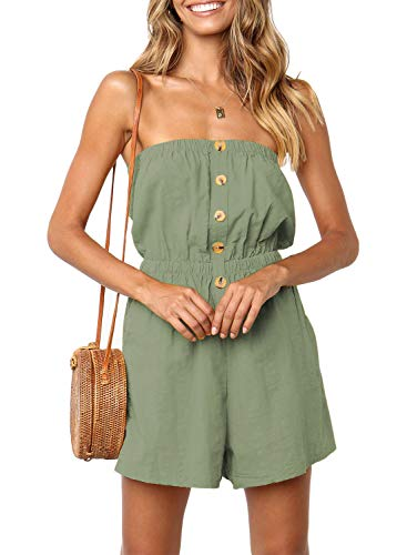 ZESICA Women's Summer Off Shoulder Strapless Solid Color Button Down Elastic Waist Short Jumpsuit Romper Green