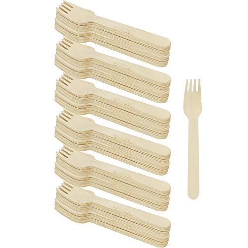COM-FOUR 120x Cubiertos desechables tenedor de madera, tenedores desechables, los cubiertos son respetuosos con el medio ambiente y biodegradables - 15,8 cm (120 piezas - tenedor de madera)