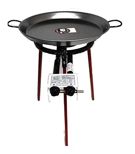 Paella Cooking Set with 46cm Polished Steel Paella Pan, Gas Burner, Legs and Skimming Spoon
