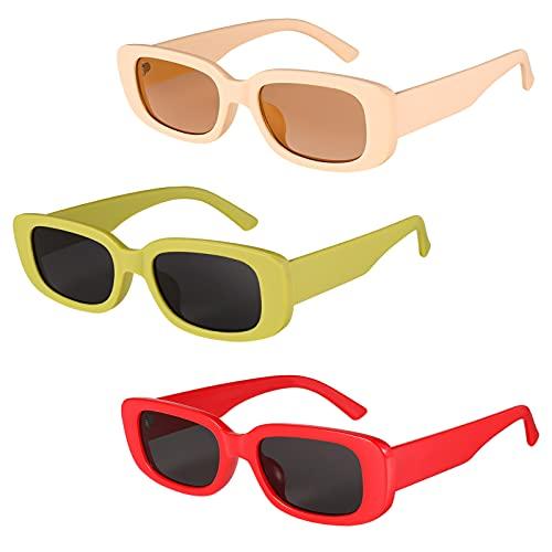 Gaosaili 3 Stücke Retro Rechteckige Sonnenbrille für Damen, Mode Rechteckige Sonnenbrille Retro Schmale Brille mit UV Schutz Sunglasses (DREI Stile)