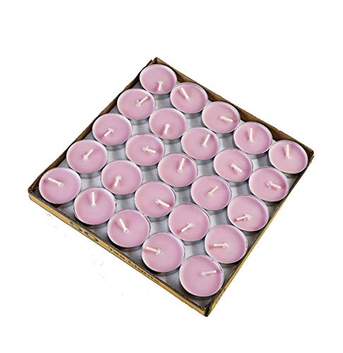 HorBous Lot de 50 Bougie Chauffe-Plat Non Parfumée Plus Lourd Brûler Pendant 3.5-4 Heures Paraffine 3.6 x 3.6 x 1.4 cm 14g (Rose)