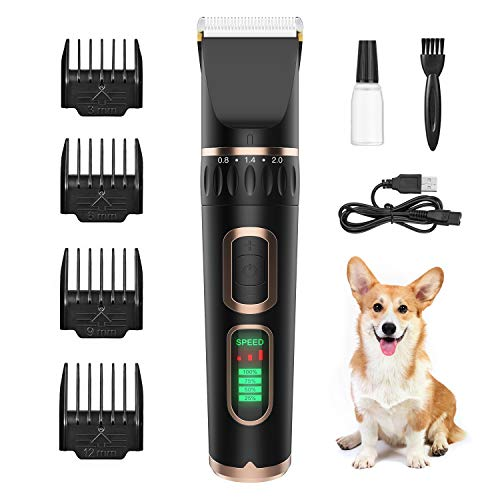 ZIIDII Dog Clippers,3 Speed Rechargeable Pet Grooming Kit with LED Display,Waterproof Blade Low