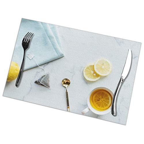 Dingl bekers en citroenen op marmer Placemat wasbaar anti-slip voor keuken diner tafelmat, gemakkelijk te reinigen plaats Mat 12x18 Inch Set van 6