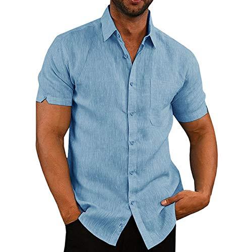Camisa de Hombre de Manga Corta de algodón y Lino de Color sólido con Solapa Nueva