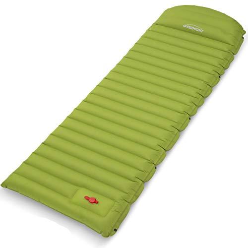 Overmont Espesor Extra Colchón Esterillas Inflable de Aire con Almohada Bomba Incorporada Alfombra de Camping Mejorada con Bolsa de Transporte Compacta Impermeable Verde