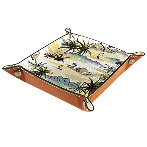 Bandeja de cuero para valet Ring organizador de joyas caja de dados pequeños accesorios de viaje bandeja de almacenamiento para mesilla de noche o entrada para hombres o mujeres para viajes, veleros