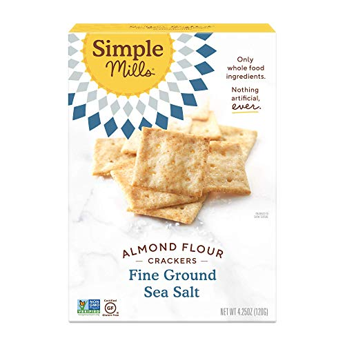 Simple Mills Almond Flour Crackers, Fine Ground Sea Salt, Gluten Free, Flax Seed, Sunflower Seeds, Corn Free, Good for Snacks, Made with whole foods, (Packaging May Vary)