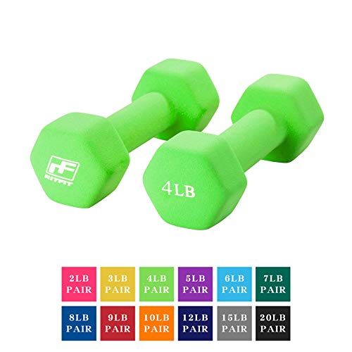 RitFit Set of Two Neoprene Dumbbells Coated for Non-Slip Grip, 1 lb-20 lb (4 Pound(Apple Green))