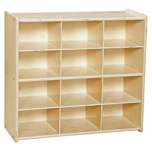 Contender - C16129 Birch 12 Cubby Storage Unit, Kids Toy and Books Organizer for Kindergarten, Homeschool, Daycare, Nursery, Preschool [Greengaurd Gold Certified]