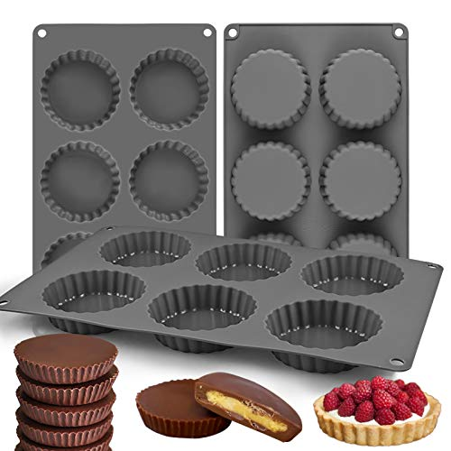 Palksky (3PCS) 6 Cup Silicone Chocolate Cookie Candy Mold/Large Fat Bombs Snack Baking Pan/Chocolate Almond Peanut Butter Cup Mold/Mini Tart Pie Pan