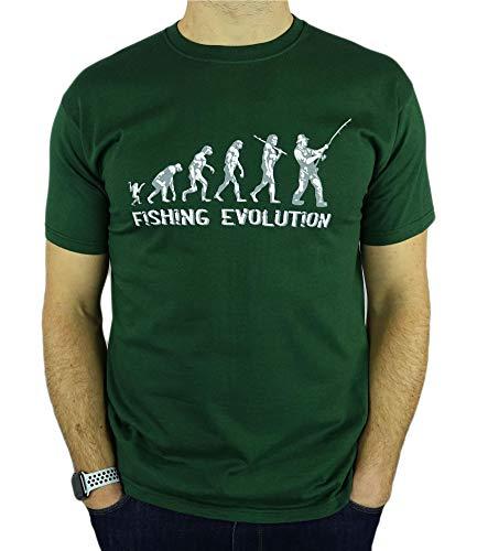 My Generation Gifts Fishing Evolution - Regalo Divertido de la Pesca del cumpleaños/Presente para Hombre de la Camiseta Verde Oscuro M