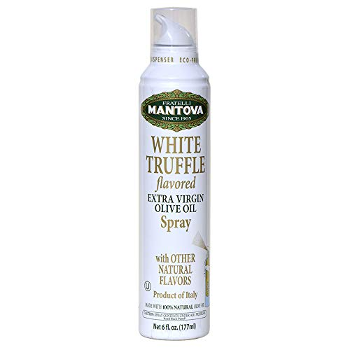 Mantova White Truffle Flavored Extra Virgin Olive Oil Spray, heart-healthy cooking spray perfect for salads or pasta sauces, 100% natural cooking oil made in Italy, olive oil dispenser sprays, drips, or streams with no waste, 6 oz