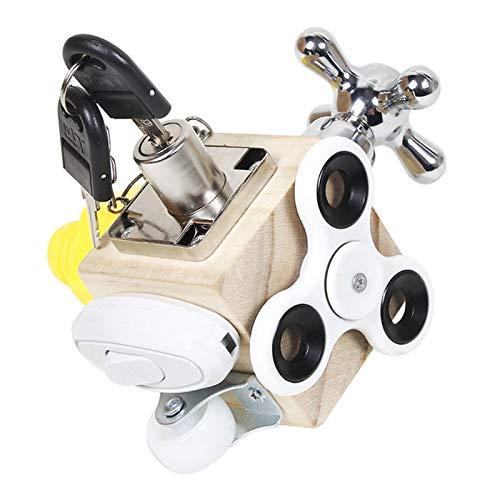 ershixiong Cubo de actividad ocupada, juguete educativo de bloque ocupado de la infancia interactivo Montessori juguete de madera para niños pequeños