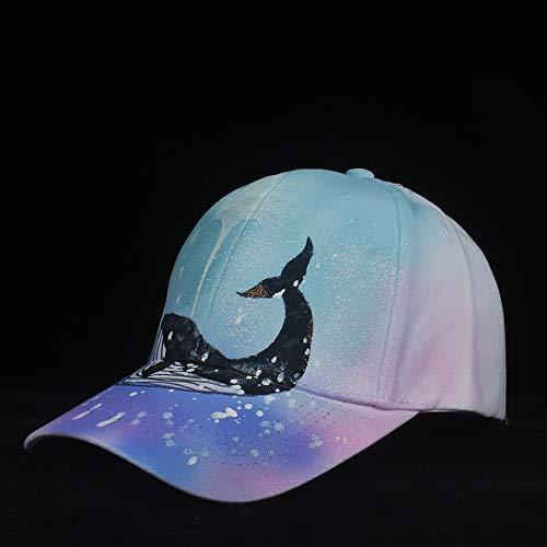HOUJHUS 100% Algodón Hombres Mujeres Sombrero de béisbol Azul Hecho a Mano Sombrero Impreso Sombrero de Hip Hop Sombrero de Deporte al Aire Libre Tamaño 56-60CM (Color : Azul, Size : 56-60)