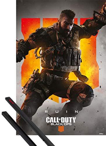 1art1 Call of Duty Póster (91x61 cm) Black Ops 4 Ruin Y 1 Lote De 2 Varillas Negras